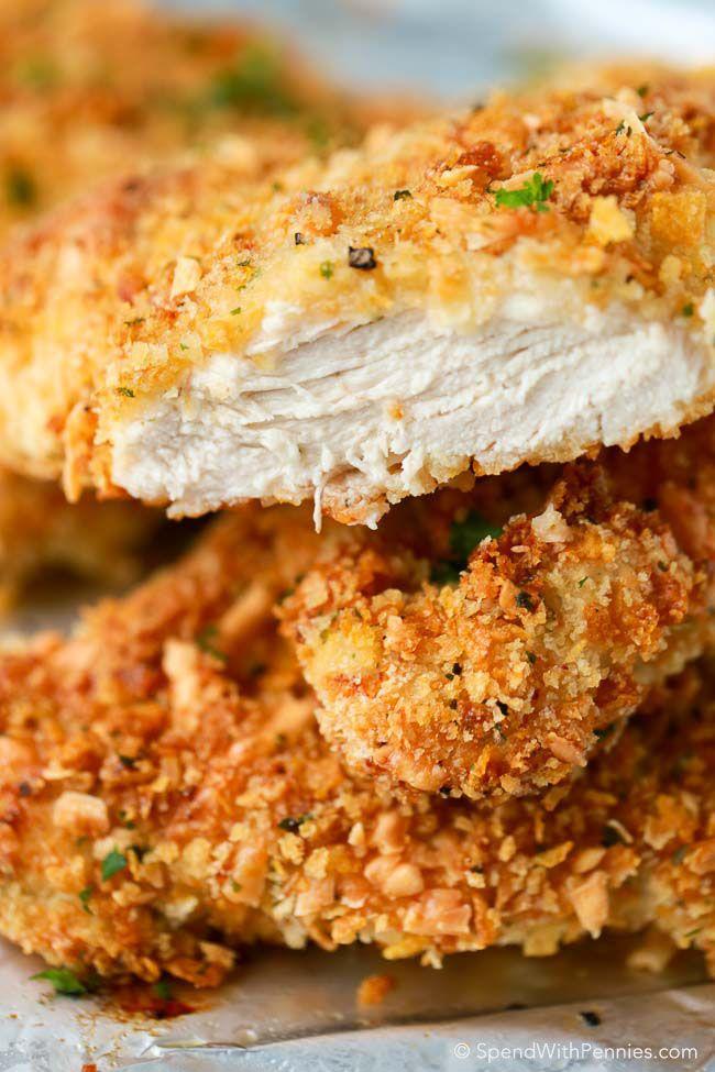 Crispy Baked Parmesan Chicken ~ a seasoned crispy crunchy coating with tender juicy chicken inside .    spendwithpennies.com