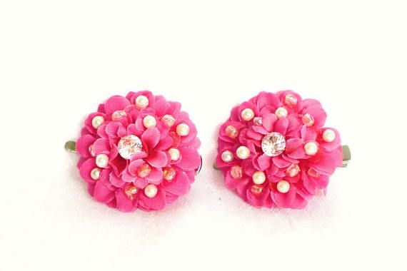 sparkling pink flowers Hair clips made of fabric with pearls, rhinestones, pink hair clips, rhinestone hair clips, flower hair clip, girls hair clips