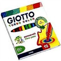 Μαρκαδόροι Giotto Turbo Color 12 τεμάχια Υπερ-ανθεκτικοί μαρκαδόροι μεγάλης διάρκειας με αεριζόμενο καπάκι, μύτη που δε γυρίζει, πώμα ασφαλείας. Σταθερά μελάνια με βάση το νερό. 'Ανω των 3 ετών