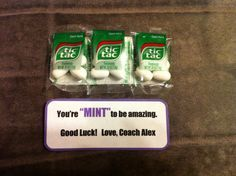 """dance team motivation ideas   Cheerleading competition good luck gift. """"You're MINT to be amazing ..."""