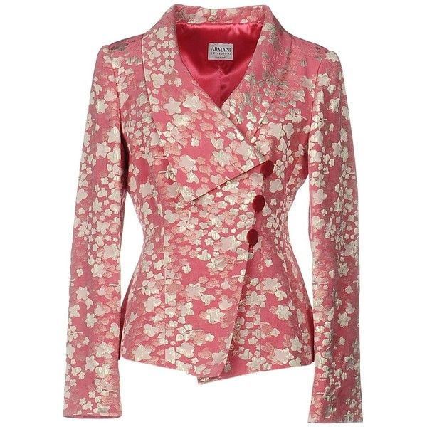 Armani Collezioni Blazer ($595) ❤ liked on Polyvore featuring outerwear, jackets, blazers, pink, armani collezioni, red blazers, jacquard blazer, pink blazer jacket and lapel jacket