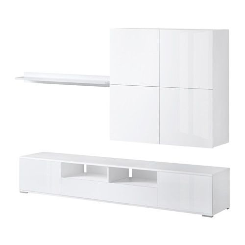 IKEA - ELLANDA, MobileTV, bianco/lucido bianco, , Sistema integrato per organizzare i cavi: nascosti ma a portata di mano.Grazie ai ripiani regolabili puoi personalizzare la tua soluzione in base alle tue esigenze.Le ante nascondono il contenuto del mobile e lo proteggono dalla polvere.Questi cassetti ti permettono di organizzare facilmente i piccoli oggetti.