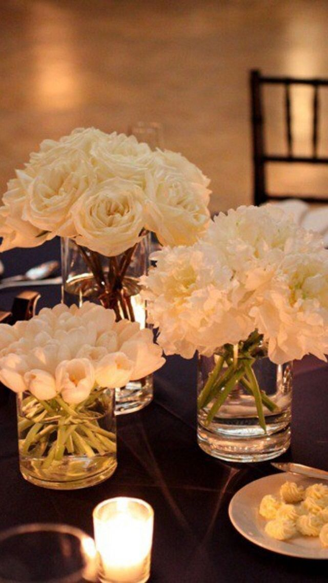 1) Simple flower arrangements, low option (more color okay) I like that the flowers are separated by type, but it could be nice to do it with shades of the same flower?