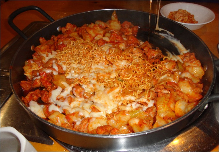 Dakgalbi (korean spiced chicken) with Cheese and Ramen/Ramyun noodles. Really good!