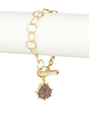 Coralia Leets Purple Druzy Teardrop Charm Bracelet