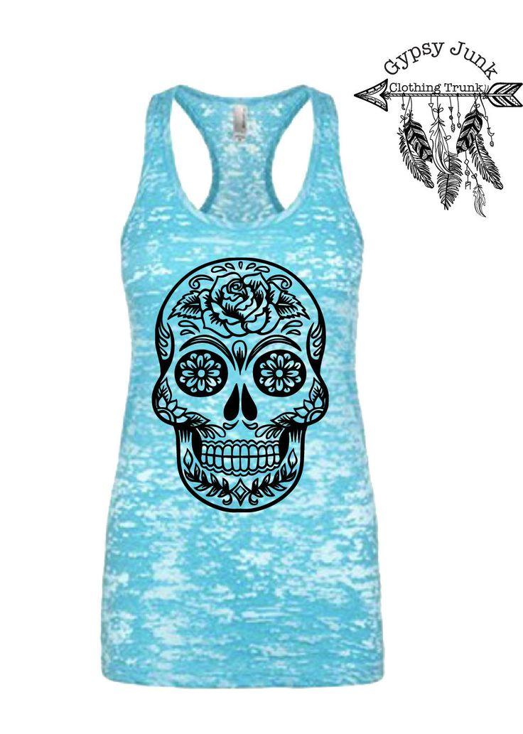Sugar Skull Tank Top, Skull Tank, Day of the Dead Tank Top, Sugar Skull Shirt, Rose Sugar Skull, Floral Skull Top, Skull Top for Women by GypsyJunkClothing on Etsy