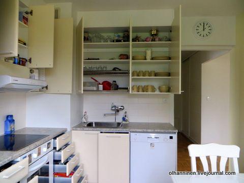 Как все удобно разложить по кухонным шкафам, чтобы кухонные столы стали пустыми и чистыми, удобными для готовки.