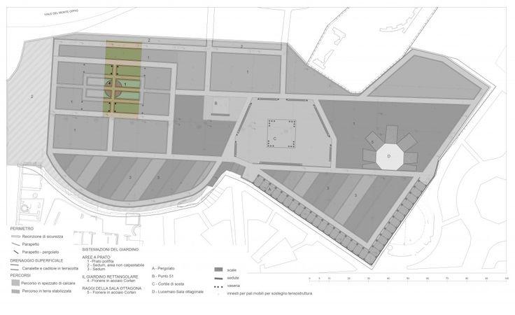 Planimetria generale del progetto con evidenziata l'area d'intervento - archivio SOPRINTENDENZA