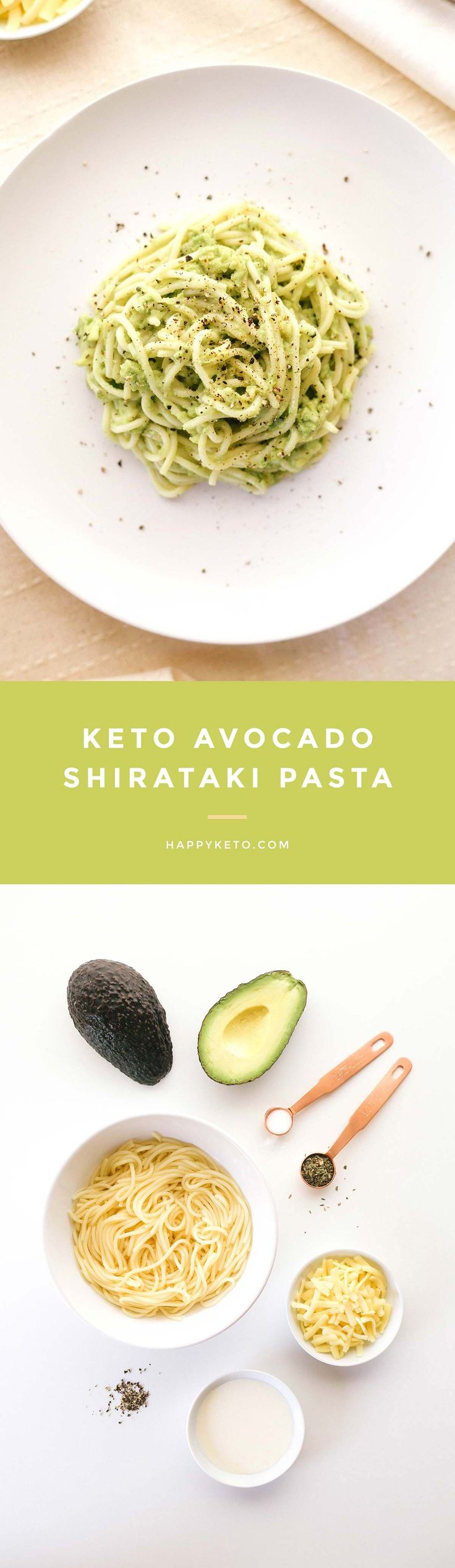 Avocado pasta for keto and low carb. Easy recipe with shirataki noodles. (heavy cream recipes)