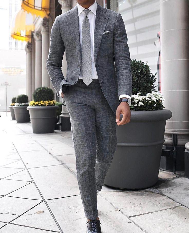 Charcoal linen suit