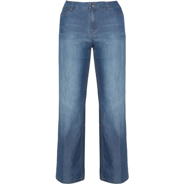 Triangle Blue Plus Size Flared jeans ($50) ❤ liked on Polyvore featuring jeans, blue, plus size, stretch flare jeans, faded blue jeans, blue jeans, stretch blue jeans and long jeans