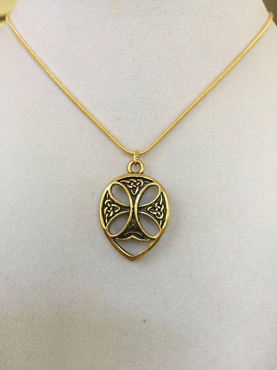 Celtic Cross Heart Antique Gold Necklace