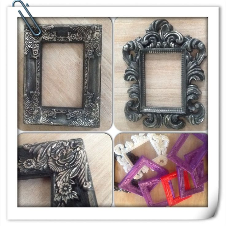 Newest Project, Found these cheap colorful picture frames on sale (ugly plastic things but... with potential). Put on a coat (or two) of Graphite Annie Sloan and rubbed on a little shimmer. I love, LOVE how they turned out!!! Ingrid