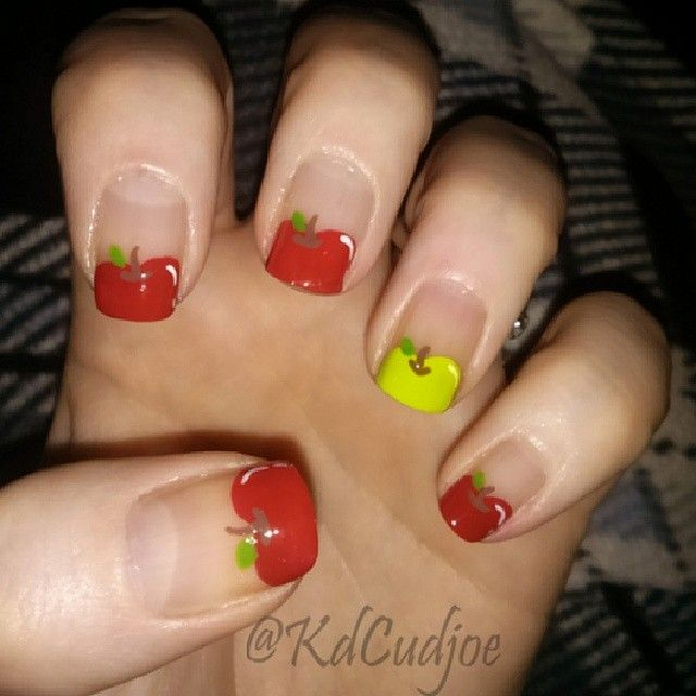 Apple for teacher nail art