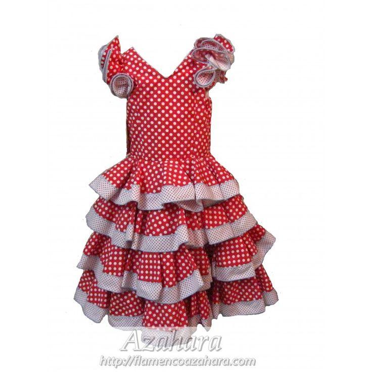 #Traje #flamenco largo para #niña con fondo en rojo y lunares blancos. Ahora en nuestra #zonaoutlet en #Fuengirola