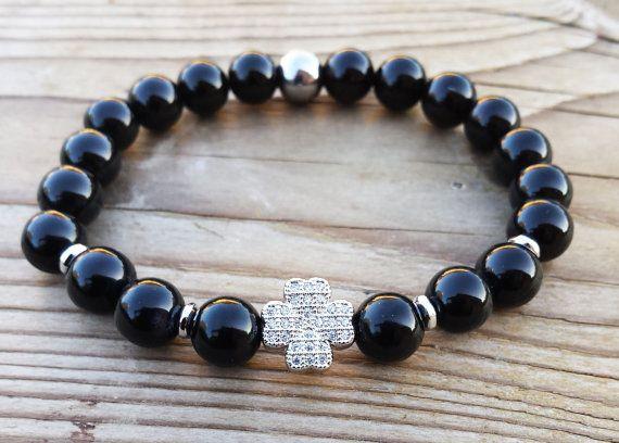Lucky Clover Bracelet Black Onyx Bracelet Mens by BohemianChicbead