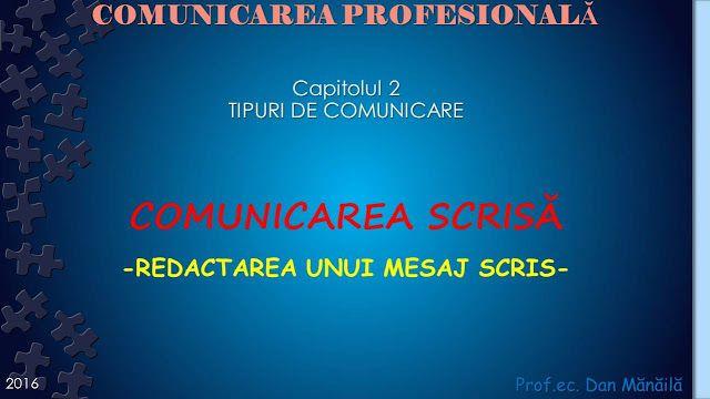 Profu`economist: COMUNICAREA SCRISA (2)
