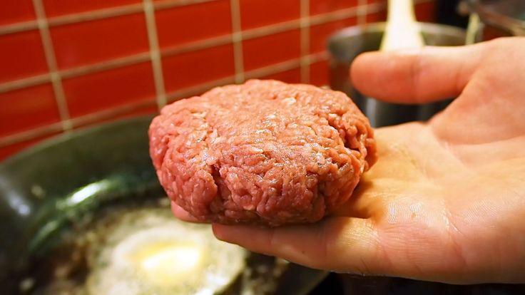 Burger patty, ready to be cooked!