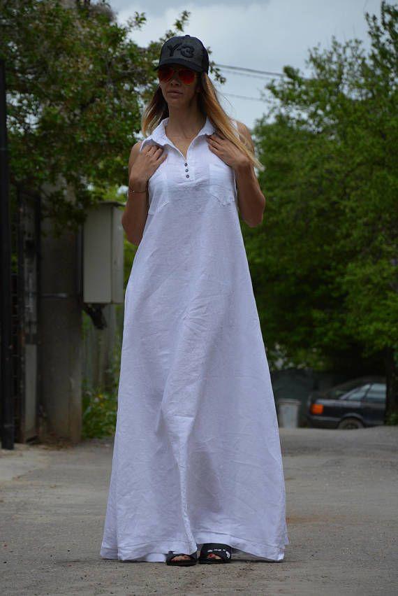 9c694df2eda Casual White Extravagant Linen kaftan - maxi loose Sexy Linen Maxi Dress  Hot White Kaftan Extravagant Long Dress Unique Sophisticated Extravagant  Dress ...