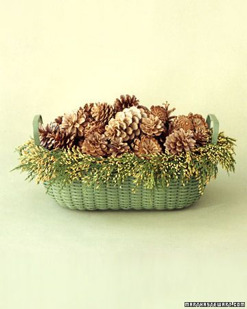 Bleached Pinecones Basket  The distinctive plate-gold and brown of these pinecones is the result of bleaching. For contrast, we coated this new basket with green spray paint, and then lined the edge with a garland made from budded incense cedar.  How to Make the Bleached Pinecones Basket