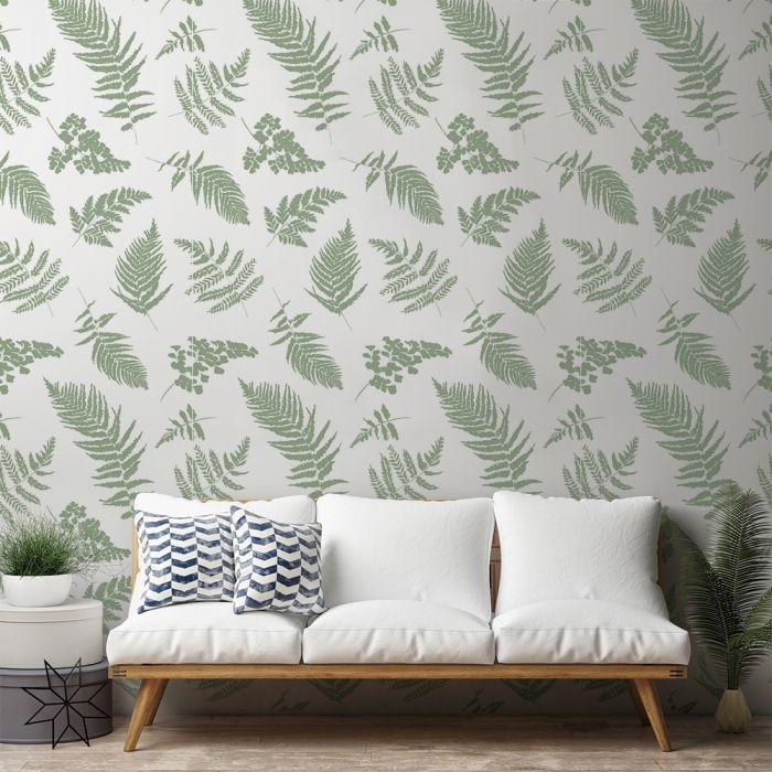 Fern Sage Green Wallpaper Rustic Home Decor Green Wallpaper