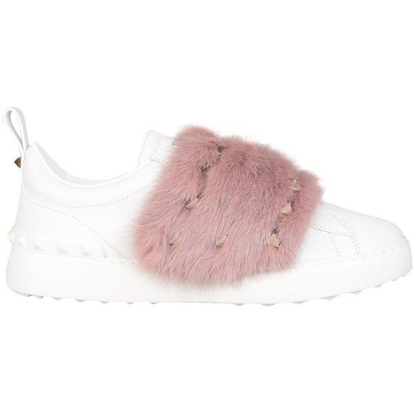 Valentino Garavani Mink trimmed Open sneakers ($1,024) ❤ liked on Polyvore featuring shoes, sneakers, pink, leather footwear, valentino trainers, pink studded shoes, valentino shoes and leather shoes