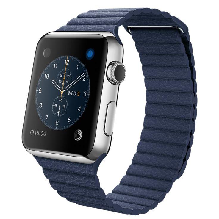 Apple Watch - Boîtier en acier inoxydable de 42 mm avec Bracelet en Cuir bleu nuit - Apple (FR)