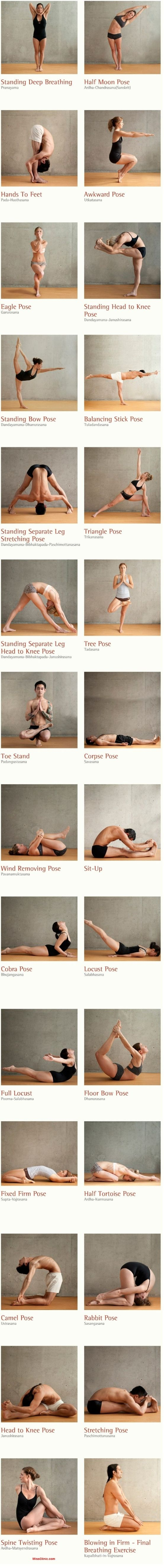 BIKRAM. 26 POSTURES! Consisting of 26 postures and 2 breathing exercises, Bikram Yoga positions focuses on 100% of the human body, working from the inside out. The 26 Bikram yoga poses invigorate by stimulating the organs, glands, and nerves; each pose helping to move fresh oxygen through the body.