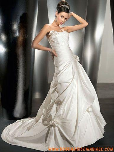 Robe A-ligne en taffetas décorée de plis robe de mariée collection