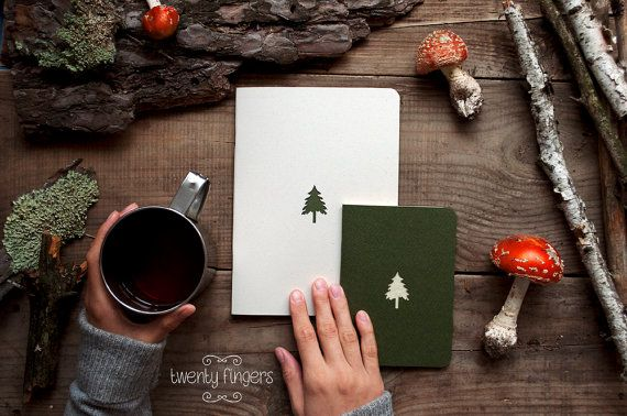 Forest notebook with a carved pattern - Spruce - set of 2 notebook