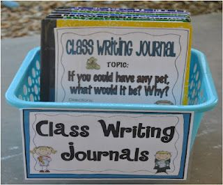 Writing #1. This is a class journal box where students have the opportunity to answer different prompts. Whether they finish their work early and need something to work on, or they go to the writing center, this activity is good to encourage the writing process and the teacher can direct the students to write about certain topics within the writing process.