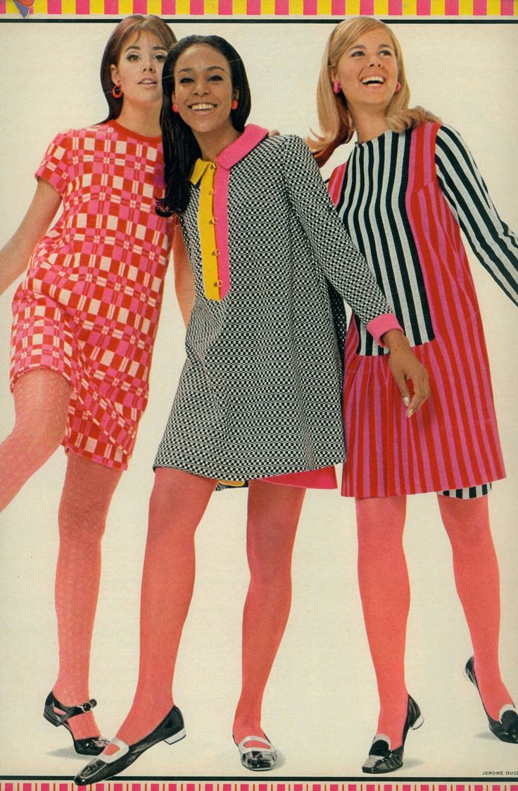 """Colleen Corby and others in """"razzle dazzle knits"""", Seventeen, 1967."""