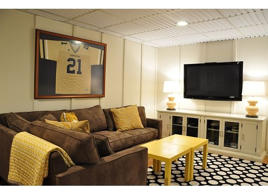 cute basement/rec roomHouse Tours, Tv Room, Basements Colors, Living Room, Basements Redo, Basements Ideas, Yellow Accent, Families Room, Man Caves