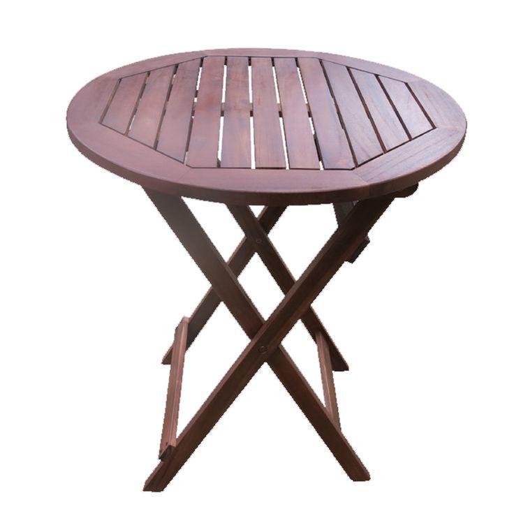 Easy garden food table folding acacia D60x70