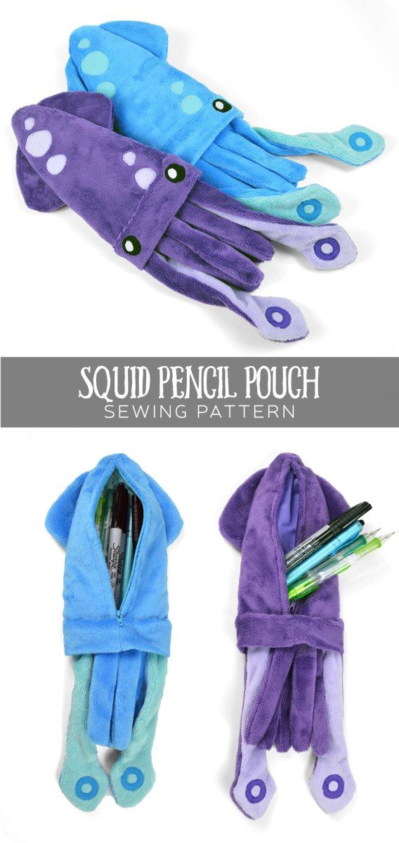 Free sewing tutorial: A useful little pencil pouch in a silly squid shape. Has a zipper in the back for holding a handful of pens or pencils ♥
