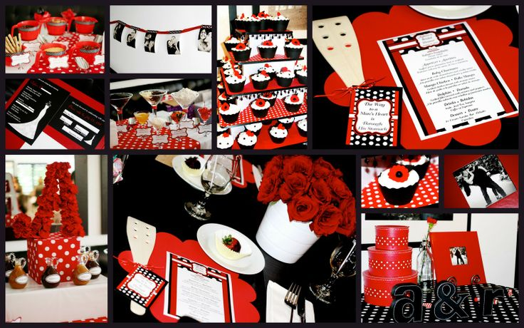 Red, Black, and White Bridal Shower - I really like the red flowers in the white pail.