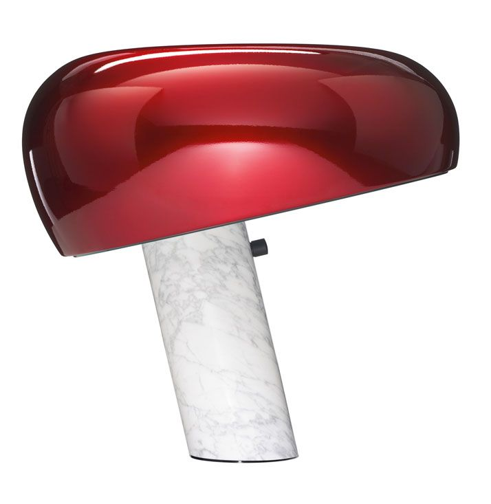 "ACHILLE AND PIER GIACOMO CASTIGLIONI, ''SNOOPY'' LAMP. The shade of the ""Snoopy"" lamp has been exclusively customised for the (RED) Auction 2013. Edition 01/01. Marble and enamelled metal. 14 1/2 x 15 1/2 inches (36.9 x 39.4 cm). 2013, Produced by FLOS S.p.A., Italy http://www.yatzer.com/RED-auction-sothebys-2013"