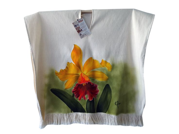 Poncho pintado a mano / painted by hand orquideas pintadas