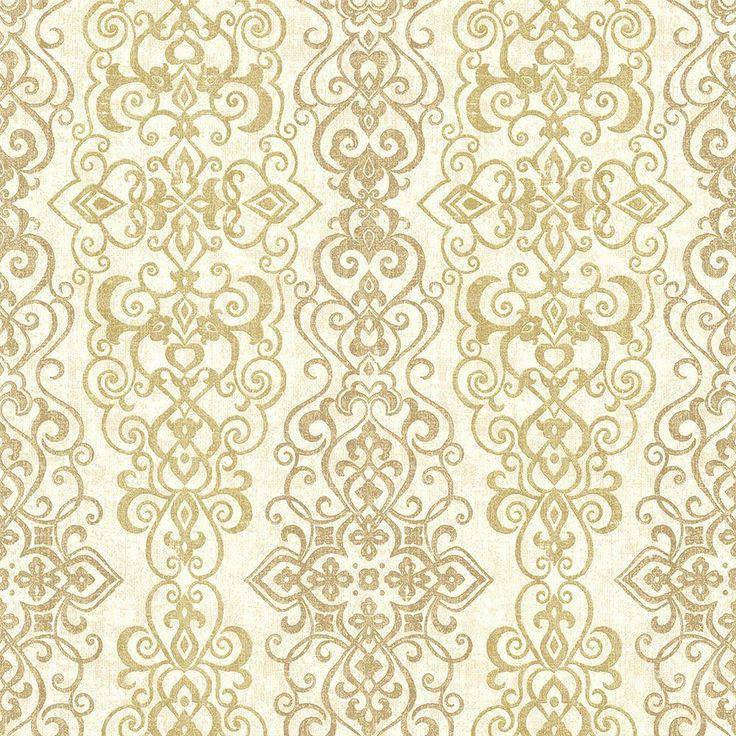 8 in. W x 10 in. H Mexuar Gold Filigree Stripe Wallpaper Sample