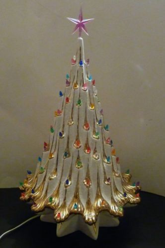 Ceramic Christmas Tree Eames Era Hollywood Regency White