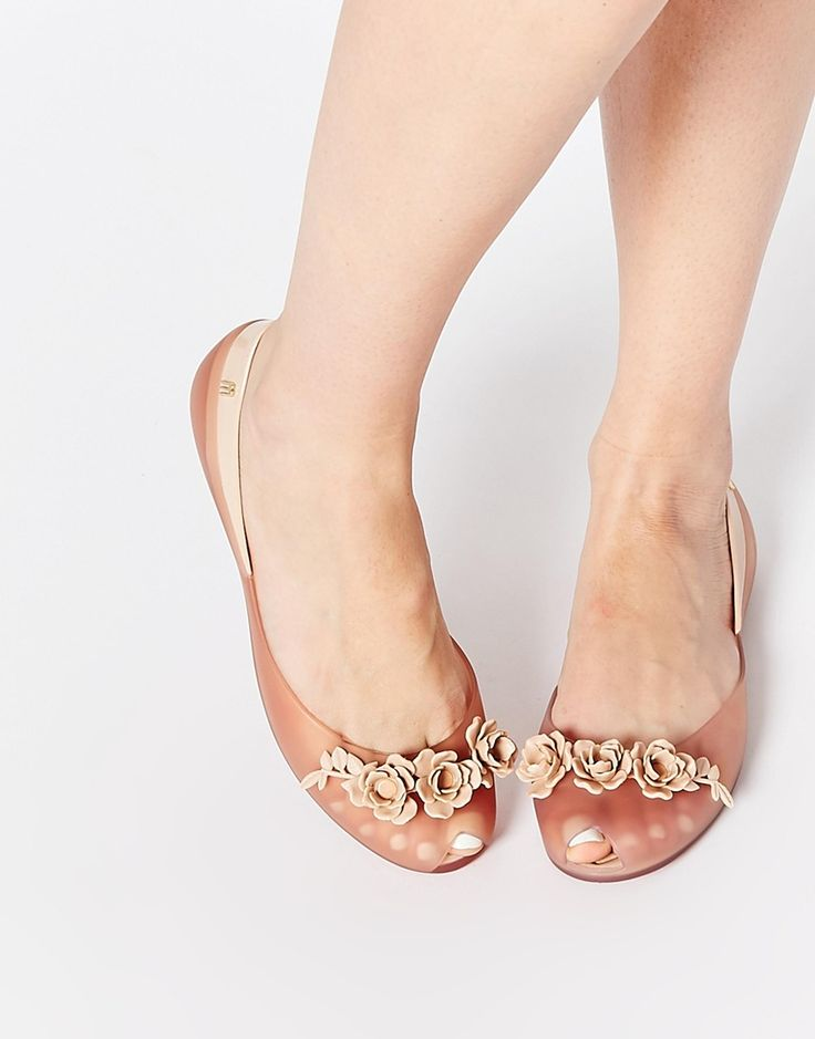Image 1 ofMelissa and Alexandre Herchcovitch Flower Queen Champagne Flat Shoes
