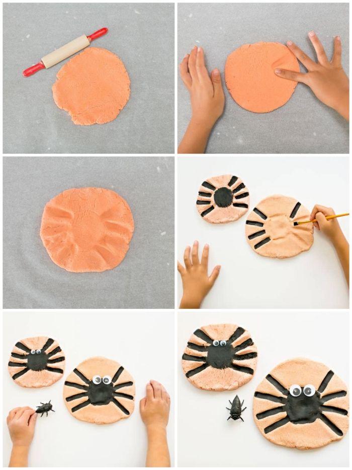 recette-pate-a-sel-sans-cuisson-à-modeler-activité-maternelle-halloween-araignée-noire-empreinte ...