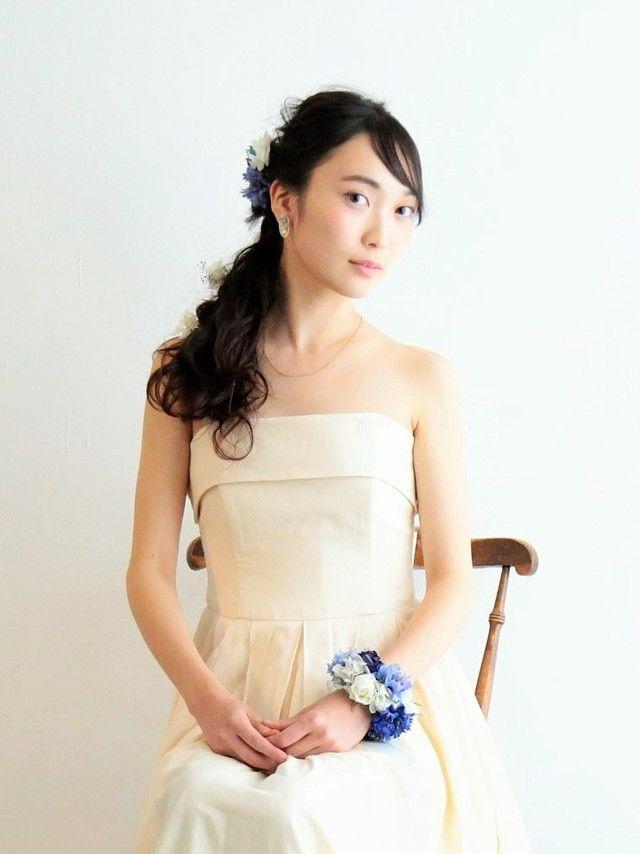 ヘッドドレス リストブーケset* antique blue by amarige* アクセサリー ヘアアクセサリー