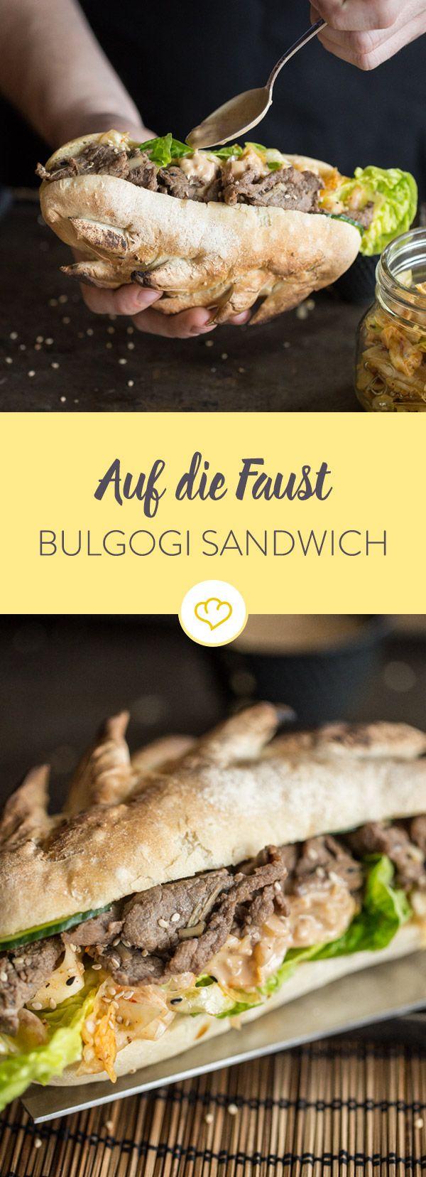 Bulgogi ist für sich alleine schon unglaublich lecker. Kombiniere Bulgogi mit Kimchi, asiatischer Mayo und Baguette zum ultimativen Sandwich.
