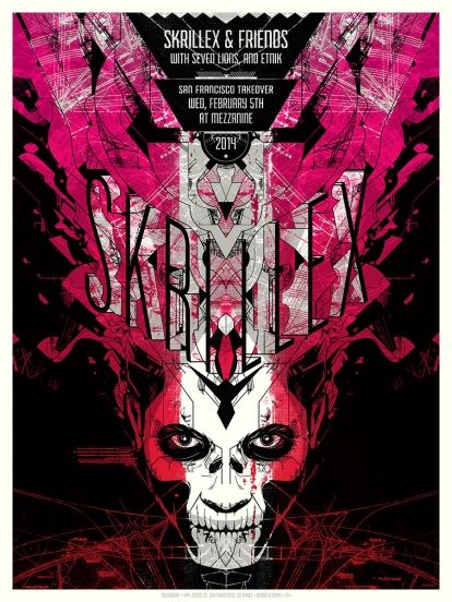 New Concert Posters for Skrillex and Houndmouth by Delicious Design League