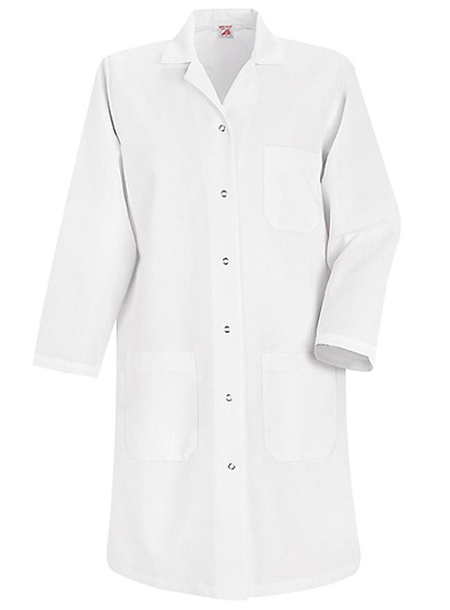 Style Code: (RE-KP15WH) A four-pocket lab coat for women is featured by Red Kap. It is made of 80% polyester and 20% combed cotton fabrics to ensure comfort and durability. This Red Kap white lab coat has a center back length of 38.15 inches and it features a notched lapel collar, long set-in sleeves, and six grippers for closure. A left breast pocket with pencil stall and two lower pockets are also provided for storage of your paraphernalia.