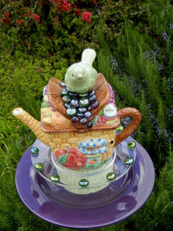 Teapot Bird Feeder, Picnic Theme, Repurposed, Garden Art, Garden Whimsy,  Garden Totem, Whimsical Garden Decor U2013 Picnic Basket Nest
