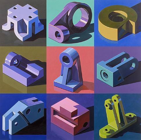 Robert Cottingham - Nine Components - 2007, oil on nine canvases
