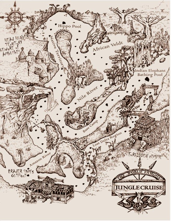 Jungle Cruise map.  I love the vintage, old fashioned, 1930s feel!