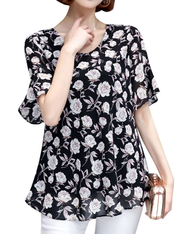 Women short sleeve flower print loose chiffon t-shirts t shirt girl picture #ac #dc #womens #t #shirts #superman #t #shirt #girl #online #t #shirt #for #girl #flipkart #tie #dye #t #shirt #girl #vine